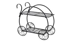 Heavy Duty Metal Flower Cart Pot Rack Plant Display Stand Holder Decor