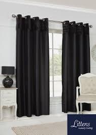 Faux Silk Eyelet Curtains by 66x72in 168x183cm Black Velvet Border Faux Silk Eyelet Curtains