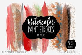 RUSTIC BRUSH STROKES Clip Art Commercial Use Clipart Watercolor Paint Strokes Rust Red Copper Rose Gold Metallic Watercolour Logo Graphics