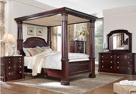 dumont cherry 8 pc queen canopy bedroom bedroom sets dark wood