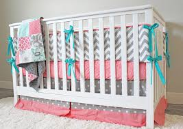 coral mint and grey crib bedding set coral mint grey baby
