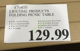 lifetime products folding picnic table u2013 costcochaser