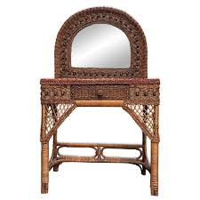 Vintage Wicker Rattan Ladies Mirrored Vanity - Scranton Antiques