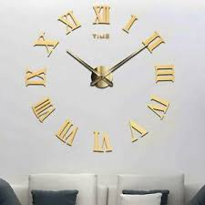 details zu design wand uhr wohnzimmer wanduhr spiegel römischen ziffern wandtattoo deko