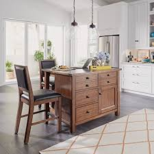 Home Styles 5412 948Q Tahoe Kitchen Island With Grey Quartz Stone Top And 2 Stools
