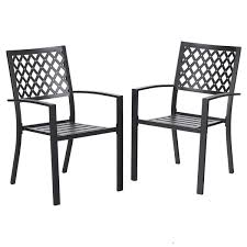 PHI VILLA 300lbs Wrought Iron Outdoor Patio Bistro Chairs With Armrest For  Garden,Backyard - 2 Pack 42 Black Metal Outdoor Fniture Ding Phi Villa 300lbs Wrought Iron Patio Bistro Chairs With Armrest For Genbackyard 2 Pack Wrought Iron Garden Fniture Mainstays 3piece Set Gorgeous Patio Design Using Black Chair And Round Table With Curving Legs Also Fabric Arlington House Chair Commercial Sams Club 2498 Slat At Home Lck Table2 Chairs Outdoor Gray Mesh Back