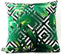 casa padrino luxus kissen miami palm leaves schwarz weiß grün 45 x 45 cm feinster samtstoff deko wohnzimmer kissen
