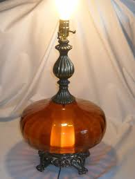 Stiffel Table Lamp Models by Vintage Mid Century Modern Amber Glass Table Lamp Hollywood