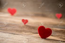Red Valentine Hearts On Old Rustic Wooden Background Valentines Day Banque Dimages