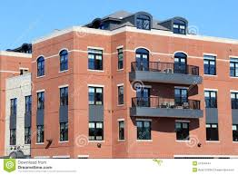 100 Contemporary Brick Architecture And Stone Apartment Building With Outdoor Patios Stock Image