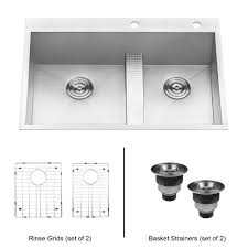 Home Depot Kitchen Sinks Top Mount by Ruvati Drop In Stainless Steel 33 In 60 40 Low Wide Divide 16