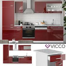 vicco küche r line 300cm küchenzeile küchenblock einbau rot