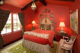 Cheetah Print Bedroom by Cheetah Bedding In Bedroom Mediterranean With Red Ceiling Next To