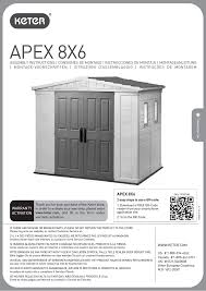 Keter Manor Plastic Shed 4 X 6 by Keter Apex 8x6 User Manual 32 Pages