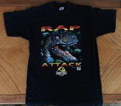 Vintage Rap Attack 1990s T Shirt Large Unique Jurassic Park Rex Dinosaur Movie Promo Tee