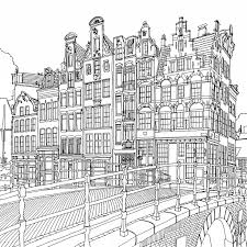 Keizersgracht Canal Amsterdam Netherlands Steve McDonalds Colouring Book Fantastic Cities A