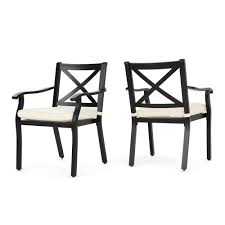 Noble House Black Standard Height Aluminum Metal Outdoor Dining Chairs With  Ivory Cushions (2-Pack) Comfortcare 5piece Metal Outdoor Ding Set With 52 Round Table T81 Chair Provence Hampton Bay Mix And Match Stack Patio 49 Amazoncom Christopher Knight Home Lala Grey 7 Chairs Of 4 Tivoli Tub Black Merilyn Rope Steel Indoor Beige Washington Coal Click Pc Stainless Steel Teak Modern Rialto Rectangle 6