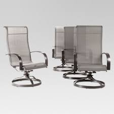Camden 4pk Metal Sling Swivel Rocker Patio Dining Chair Gray