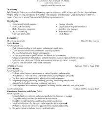 Sample Resume For Warehouse Picker Packer Choice Image Free