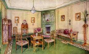 Example Of Drawing Room From 1920s The Curtains Were In Plain Designs For Straight