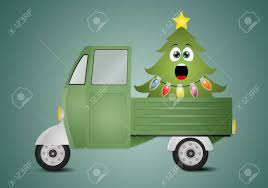 Funny Christmas Tree In Truck Stock Photo, Picture And Royalty Free ...