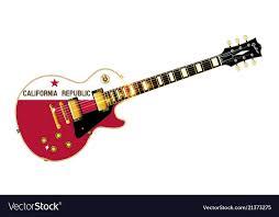California State Flag Guitar Vector Image