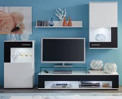 möbel wohnzimmer wohnwand weiß glanz schwarz punch 230 cm