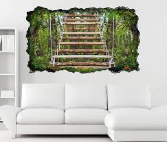 3d wandtattoo treppe holz wald hängetreppe selbstklebend wandbild wandsticker wohnzimmer wand aufkleber 11o1131