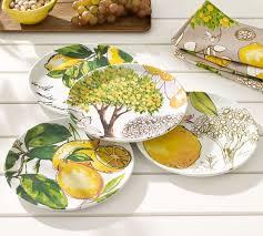 Lemon Melamine Salad Plate Mixed set of 4