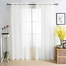 Sheer Curtain Panels 108 Inches by Amazon Com Hlcme White 2 Pack 108 Inch By 108 Inch Window Curtain