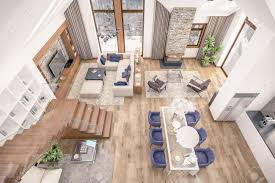 3d rendering wohnzimmer küche und esszimmer und treppe sind in einem bereich chalet kombiniert der innenraum ist mit holz und natürlichen