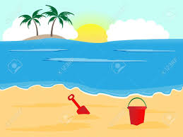 Summer Holiday Background Sunny Beach With Bucket And Spade Stock Vector