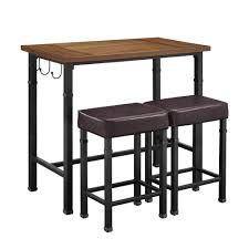 Details About Bar Table Set Wood Metal Faux Leather 4-Legs Rectangle Rustin  Brown (3-Piece)