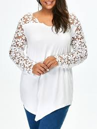 lace panel plus size long sleeve tunic t shirt white xl in plus