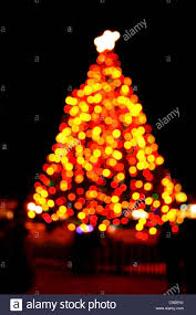 Blurry Outdoor Christmas Tree At Night With Black Background
