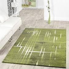 moderner wohnzimmer teppich matrix design kurzflor meliert grün grau creme größe 160x220 cm