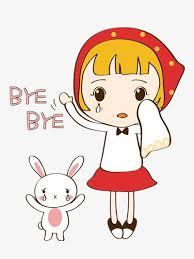 Say goodbye girl Color Cartoon Bunnies Free PNG Image