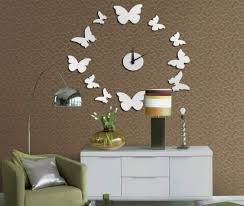 Creative Interior Design With Butterfly Wall Clock For Minimalist