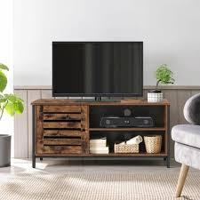 vasagle tv tisch für fernseher bis 50 zoll tv regal fernsehtisch lowboard mit schrank 2 offene fächer wohnzimmer schlafzimmer lamellentüren