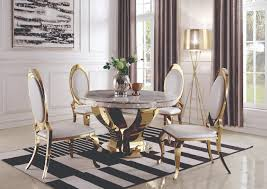 909840 Kendall Gold Round Ivory-Top Dining Table W/4 Dining ...