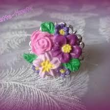 bague fleur filigrane argentée réglable x1 pâte polymère fimo