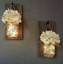 Awesome Rustic Home Decor Living Set Of 2 Hanging Mason Jar Sconces Wit