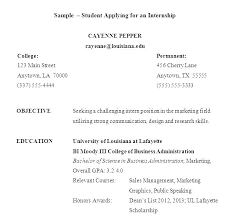Sample Resume For College Student Seeking Summer Internship Resumes Template