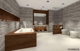 modernes badezimmer mit holz und stein bathroom stock