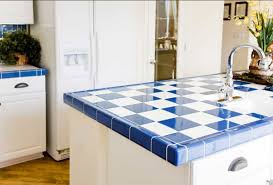 bright kitchen designed with white cabinets and blue white ceramic