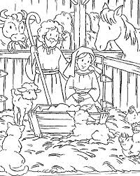 Animals Gather In Stable Where Jesus Was Born Bible Christmas Story Colouring Page