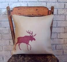 Burlap Moose Decorative Pillow Cover 18 X