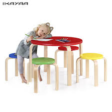 IKayaa DE Stock Toddler Children Table Set Wood Round Kids Table And ...
