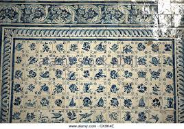 blue white wall tiles portugal stock photos blue white wall