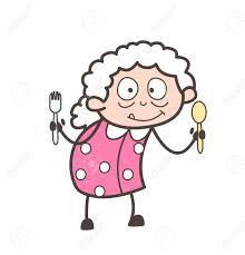 dessin animé mamie montrant des ustensiles de cuisine vector